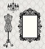 frame, mannequin and chandelier