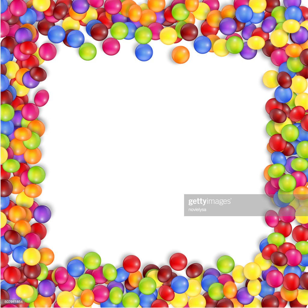 Frame of colorful candy on a white background.vector