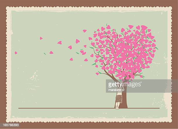 frame of girl leaning on a tree with heart shaped leaves - postcard stock illustrations, clip art, cartoons, & icons