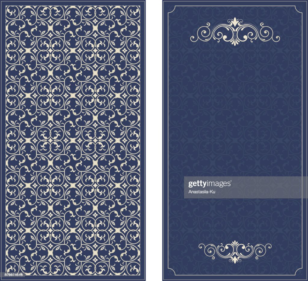 Frame on damask seamless background. Vector decorative retro greeting card or invitation design. Exquisite rich and solemn Arabic pattern, stylish, elegant and modern interpretation of Islamic motifs.