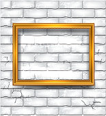 Frame on the white brick wall