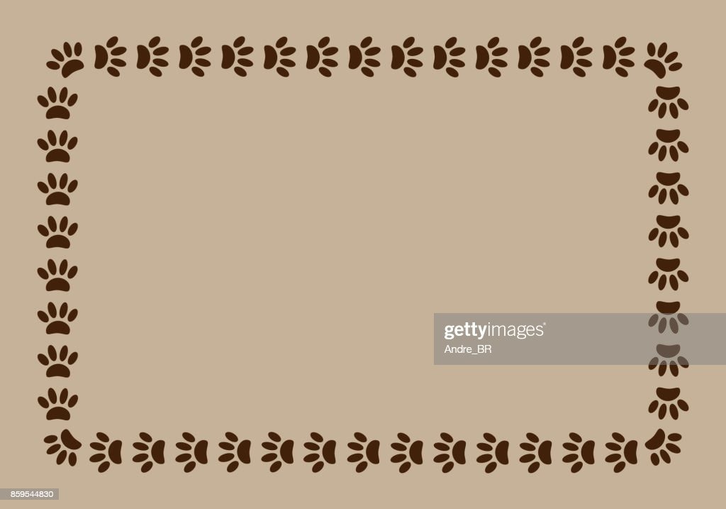 Frame paw prints on beige background