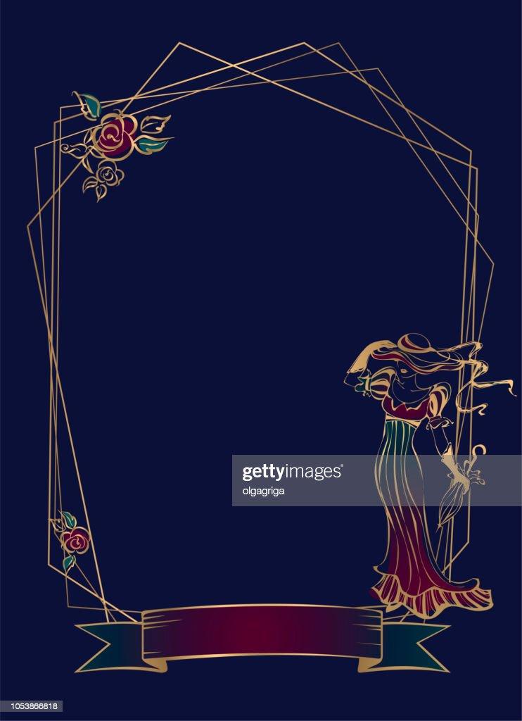 Frame. Vignette. Vintage lady. Geometric frame. Dark blue background. Vector.