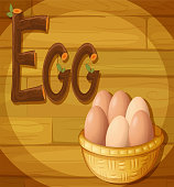 Frame with a basket of eggs