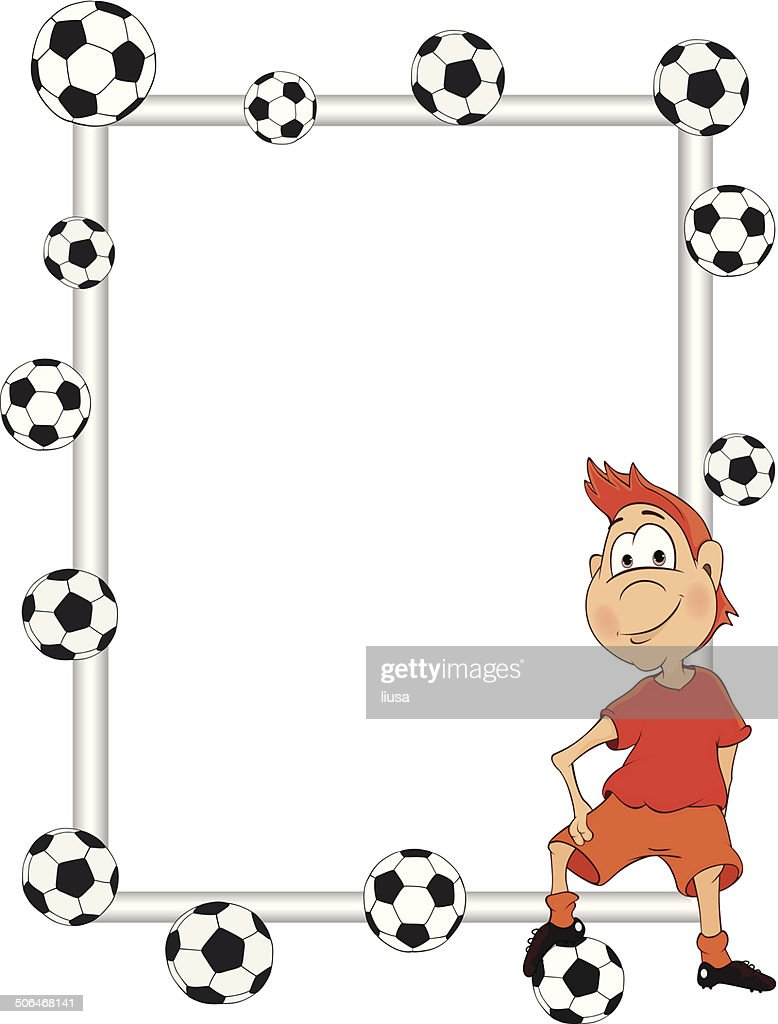 Frame With A Soccer Player Cartoon Vector Art | Getty Images