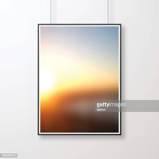 Frame with abstract background, blurred sunset, isolated on white background