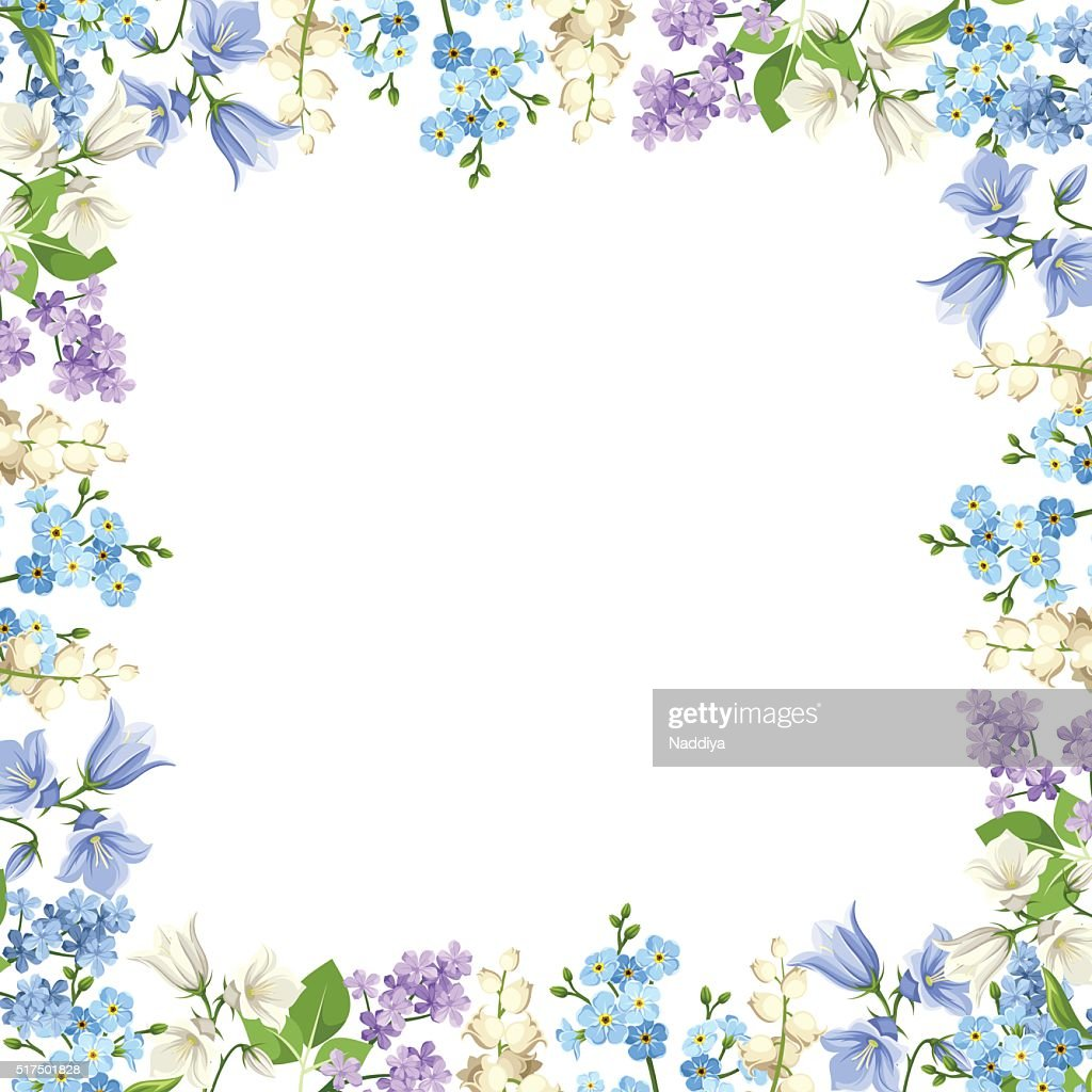 Frame with blue, purple and white flowers. Vector illustration.