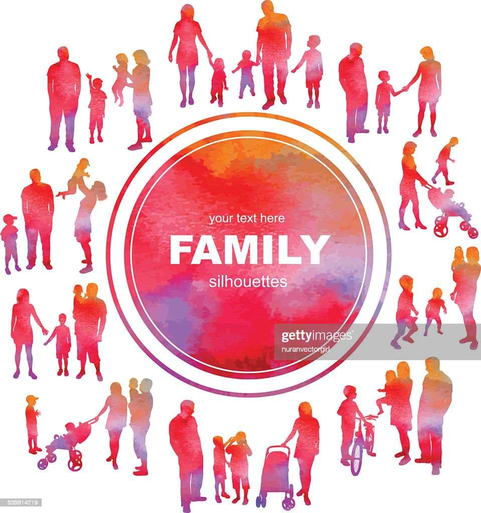 Frame with family silhouettes and watercolor effect. Vector. : Vector Art