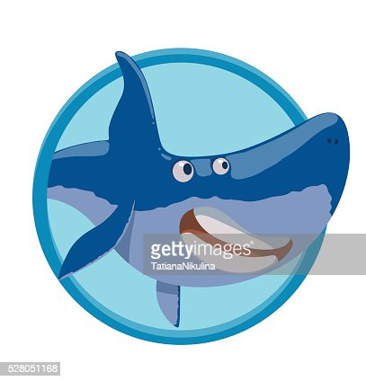Frame With Funny Joyful Blue Shark Vector Art | Getty Images