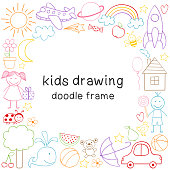 frame with kids drawing