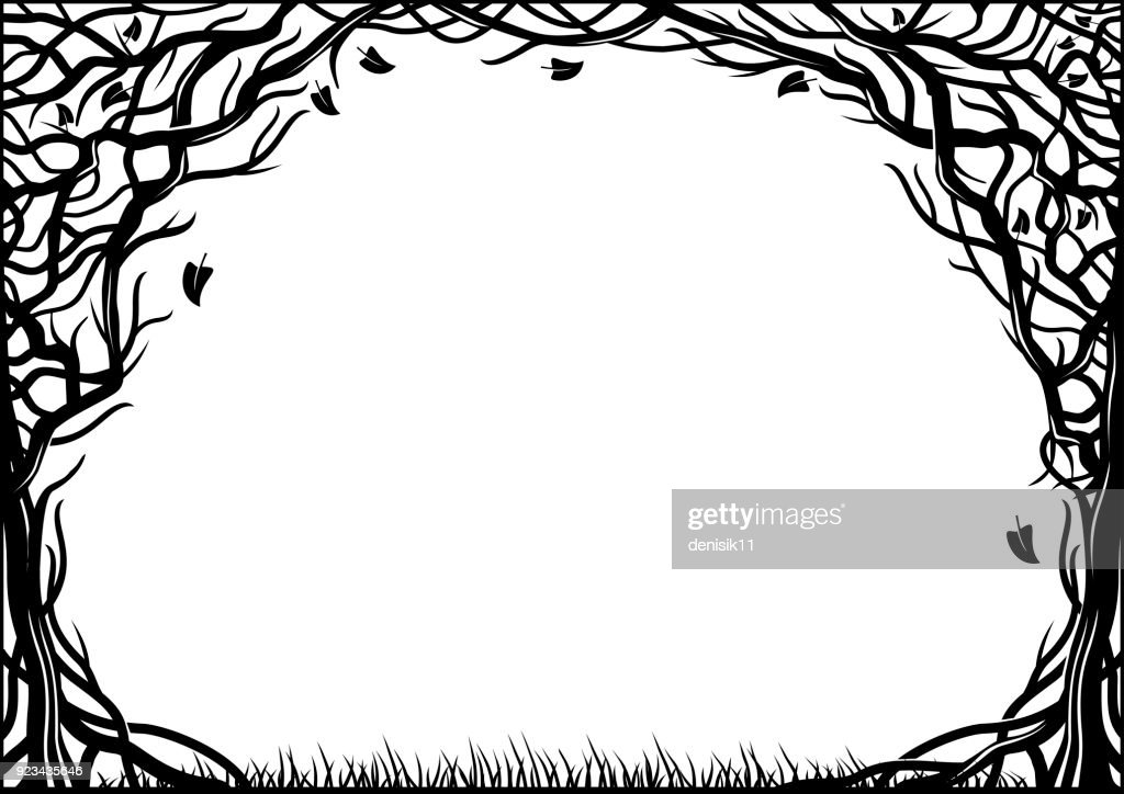 Frame with natural texture of the two trees