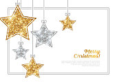 Frame with Silver and Gold Hanging Stars
