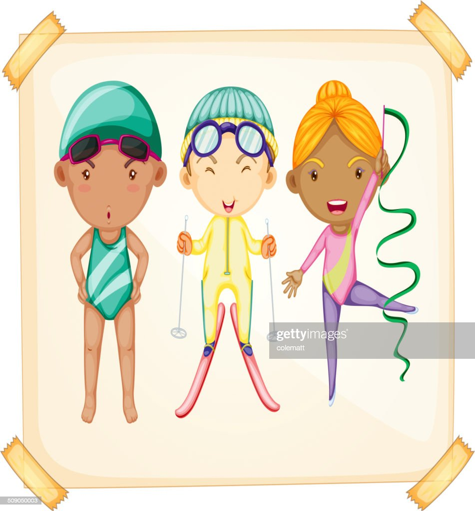 Frame With Three Sporty Kids Vector Art | Getty Images