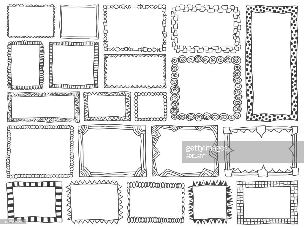 Frames doodle vector. Set of simple sketch doodles.