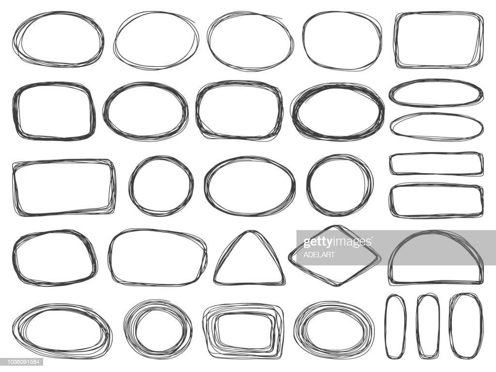 Frames doodle vector set