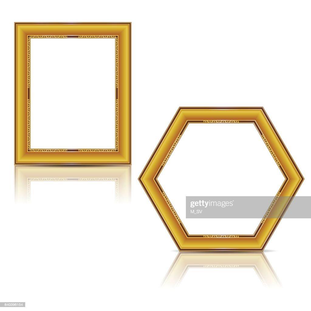 Rahmen Gold Farbe Mit Schatten Vektorgrafik | Getty Images