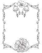 Frames of rosebuds and roses, monochrome