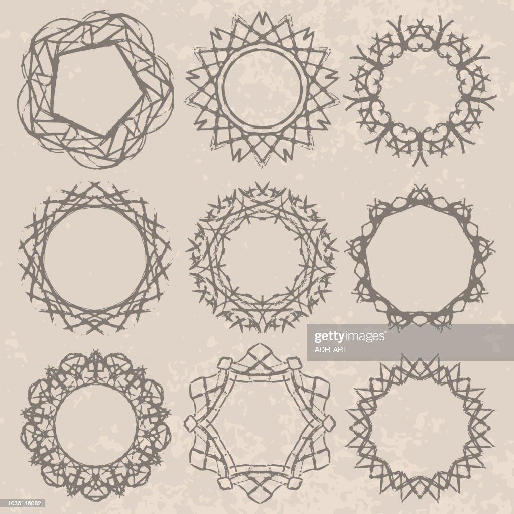 Frames set doodle ornament vector