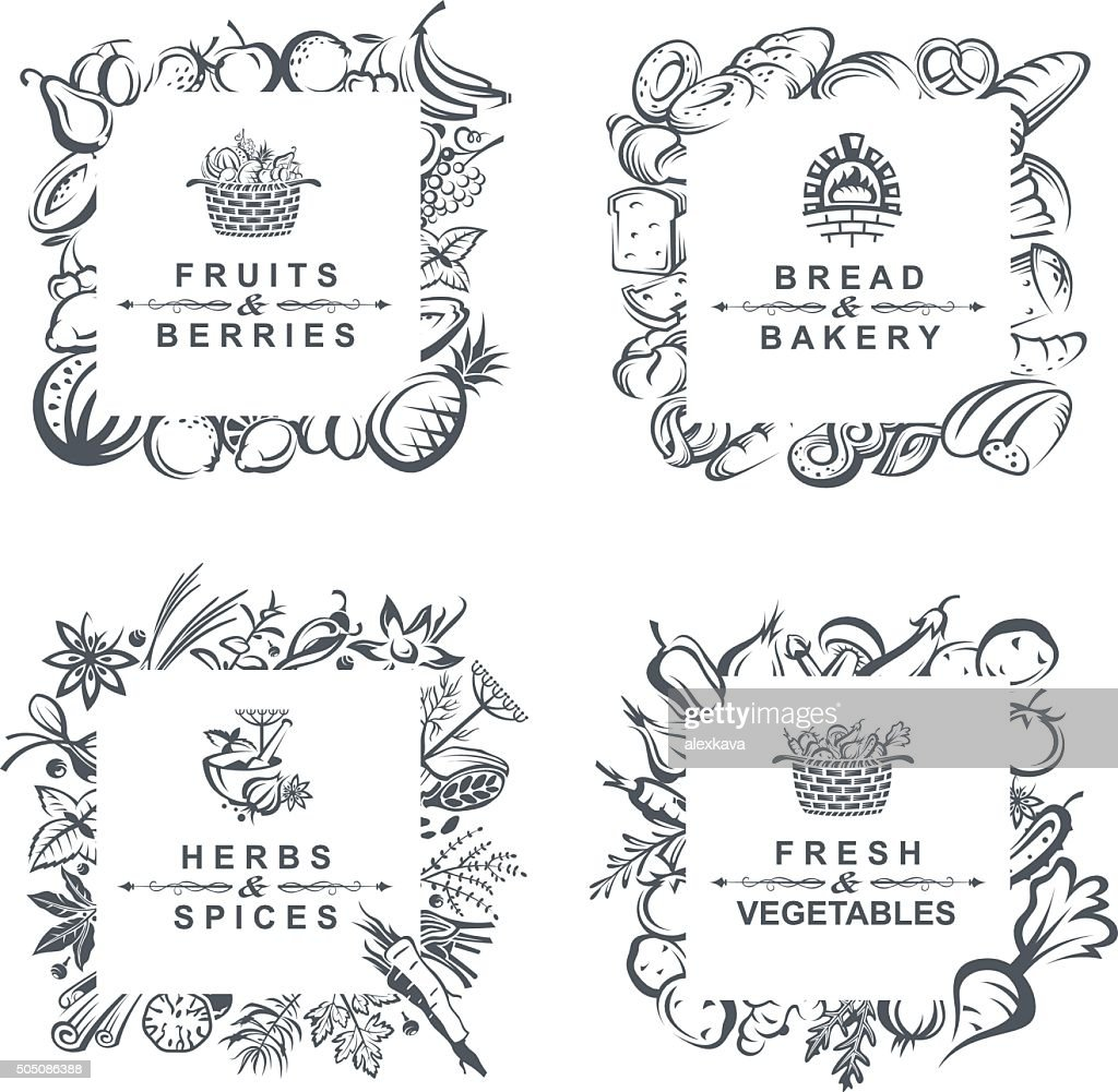frames with fruits, vegetables, bakery and spices
