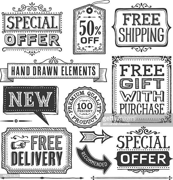 frames,banners and labels hand drawn - banner sign stock illustrations
