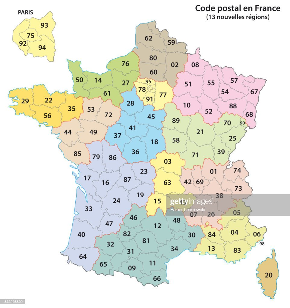 France 2-digit postcodes map 2017