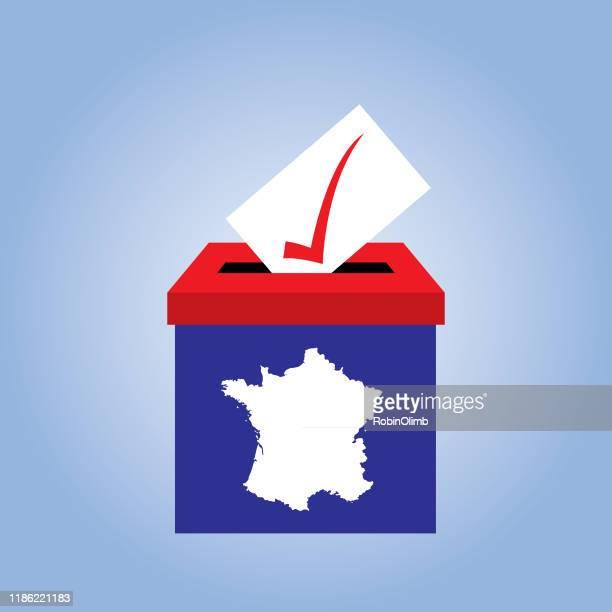 illustrations, cliparts, dessins animés et icônes de icône de boîte de scrutin de france - élection