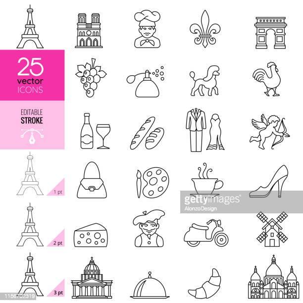 ilustrações, clipart, desenhos animados e ícones de país de france e ícones da cultura linha fina ajustada. traçado editável. - cockerel