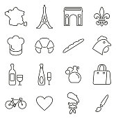 France Country & Culture Icons Thin Line Vector Illustration Set