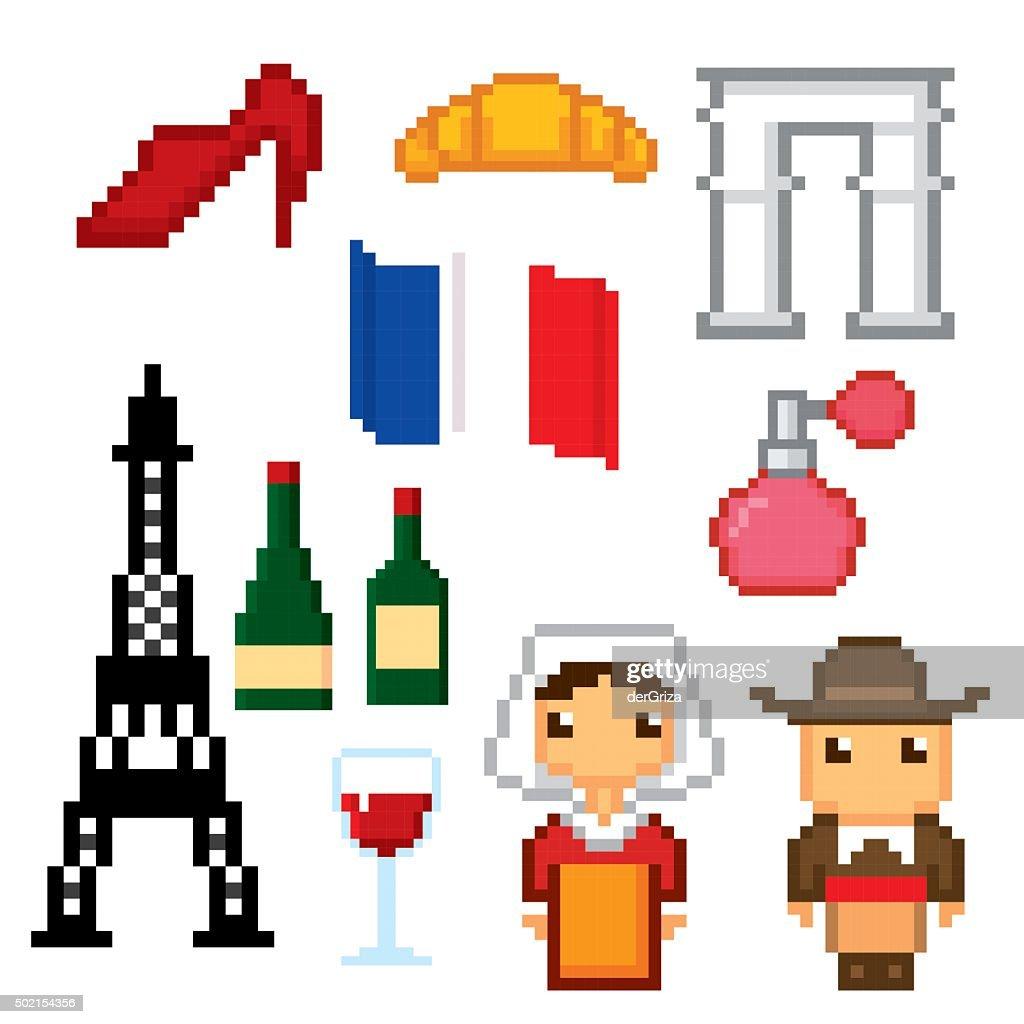 France Culture Symbols Icons Set Pixel Art Old School