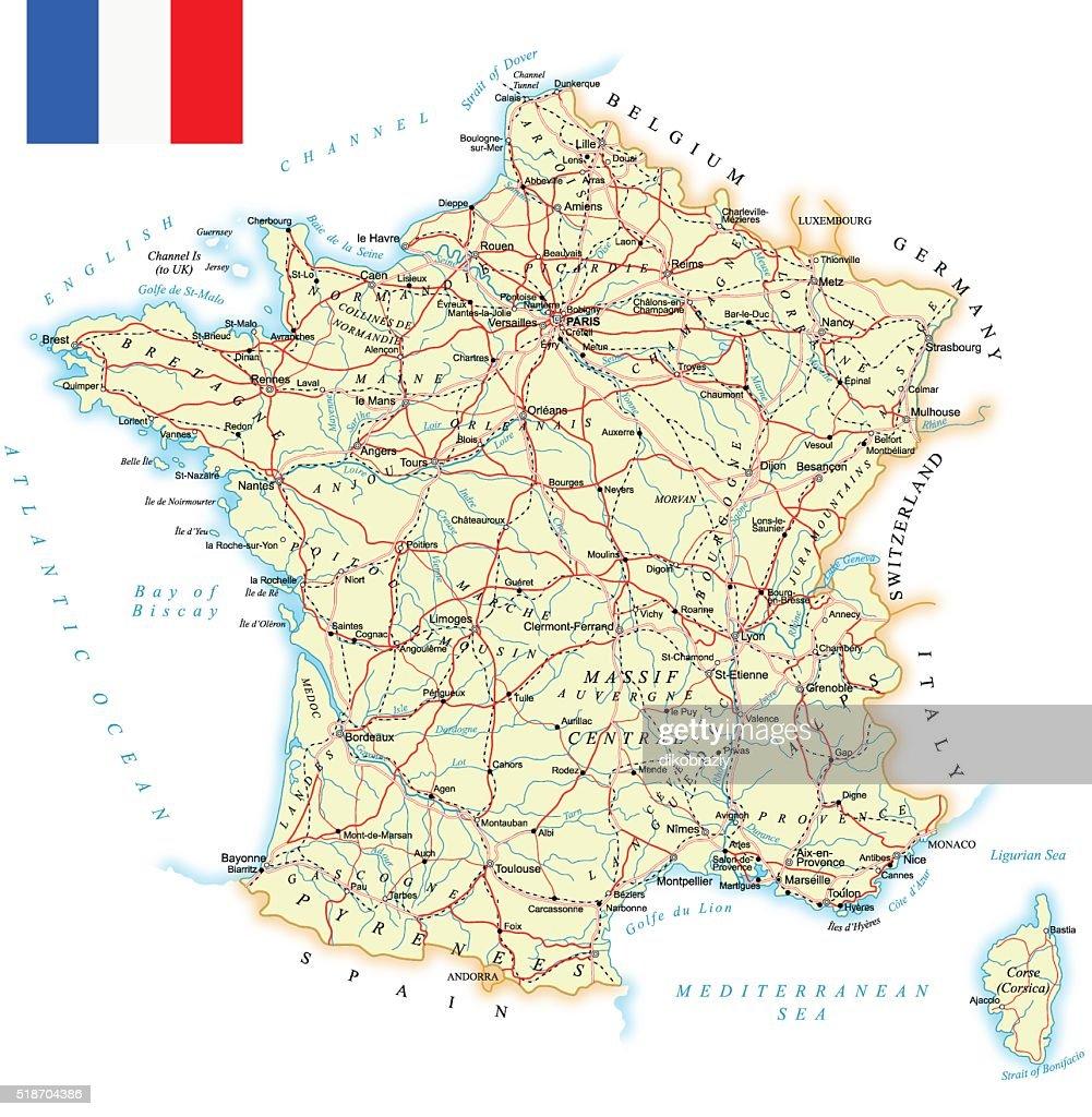 France - detailed map - illustration