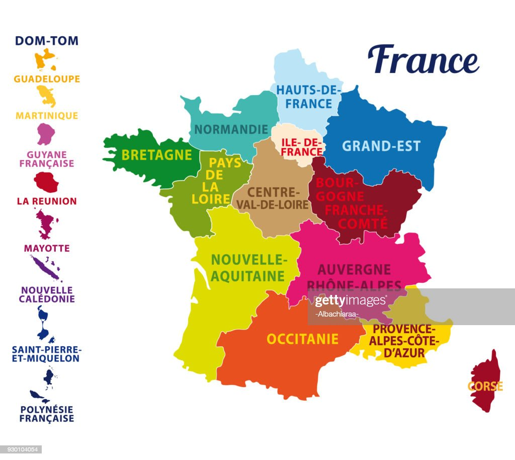 France divided into regions with state capital and regions capitals. Vector illustration.