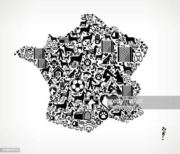 ilustrações de stock, clip art, desenhos animados e ícones de france dog and canine pet black icon pattern - bulldog frances