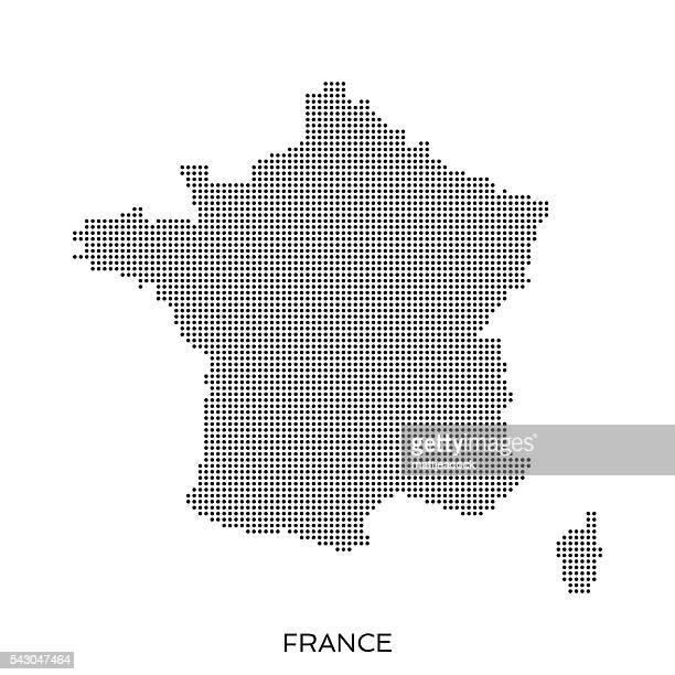France dot halftone pattern map