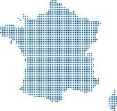 France dotted map. France map dots. Highly detailed pixelated France map vector outline illustration in blue background