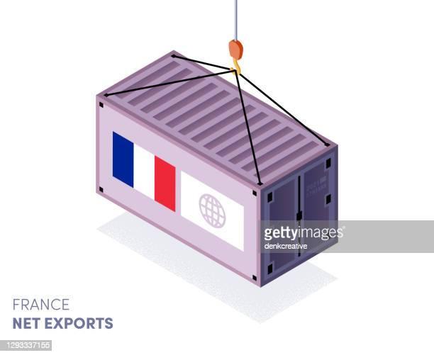 stockillustraties, clipart, cartoons en iconen met import & import vector-afbeelding van frankrijk - franse vlag