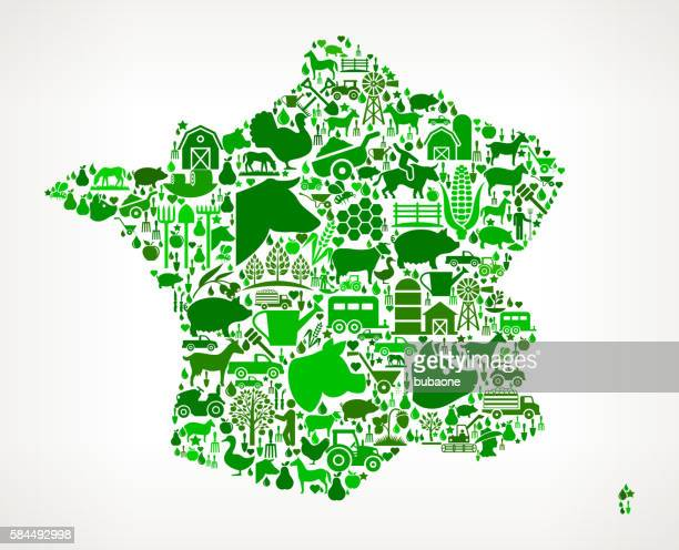 France Farming and Agriculture Green Icon Pattern