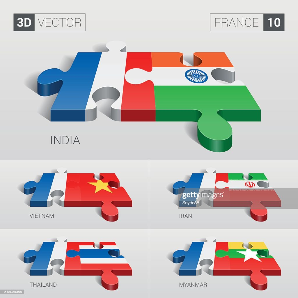France Flag. 3d vector puzzle. Set 10.