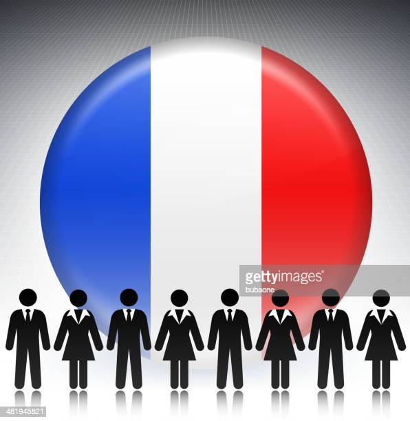 france flag button with business concept stick figures - governor stock illustrations, clip art, cartoons, & icons