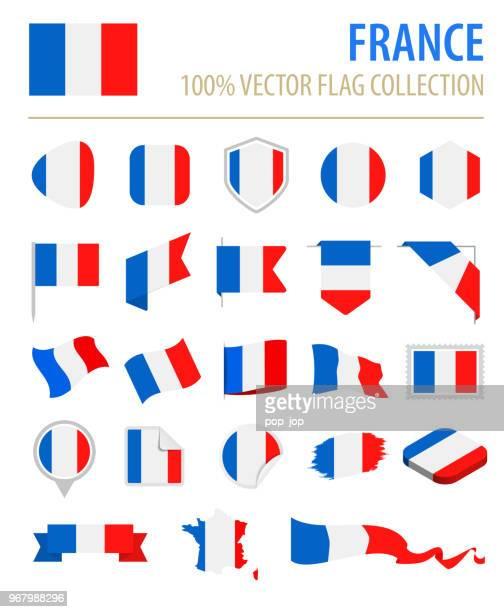 stockillustraties, clipart, cartoons en iconen met frankrijk - vlag platte vector pictogramserie - franse vlag