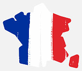 France Flag & Map Vector Hand Painted with Rounded Brush