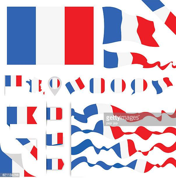 france flag set - france stock illustrations