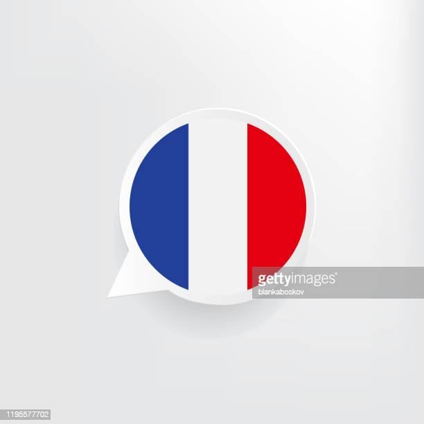 stockillustraties, clipart, cartoons en iconen met frankrijk vlag toespraak bubble - franse vlag
