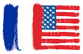 France Flag & United States of America Flag Vector Hand Painted with Rounded Brush