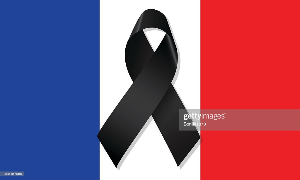 France flag with ribbon mourning vector