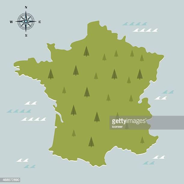 illustrations, cliparts, dessins animés et icônes de france green travel carte sur fond bleu clair - cartographie