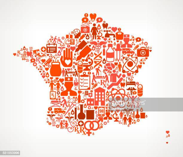 france healthcare and medical red icon pattern - cardiac conduction system stock illustrations