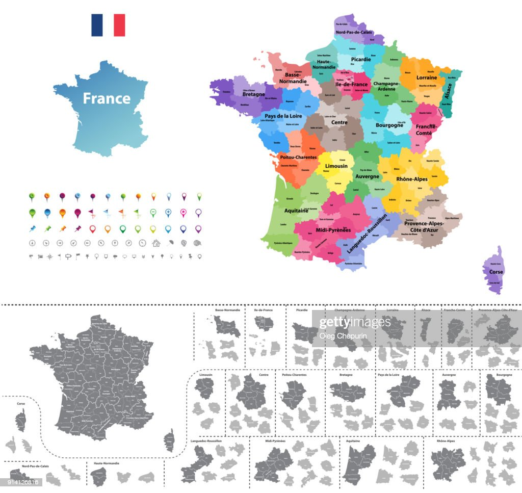 France high detailed vector map colored by regions. All layers detachabel and labeled.