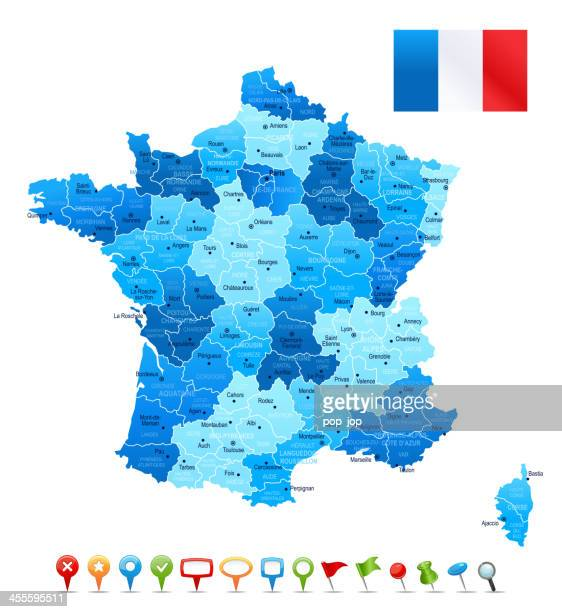 france - highly detailed map - france stock illustrations