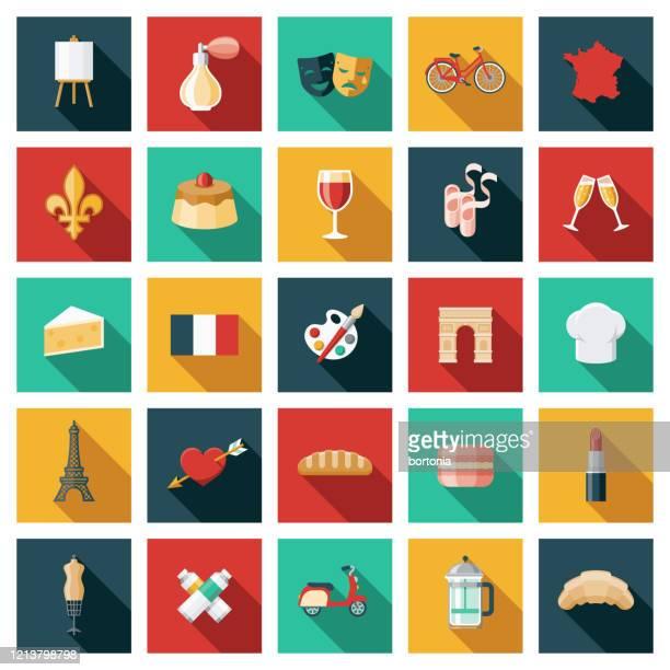 illustrations, cliparts, dessins animés et icônes de ensemble france icon - culture française