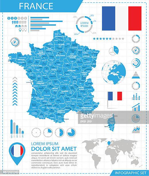 france - infographic map - illustration - nice france stock illustrations, clip art, cartoons, & icons